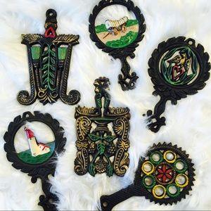 Vintage Painted Cast Iron Trivets 💖